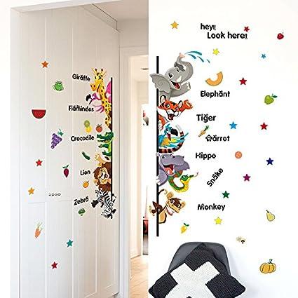 Dibujos animados infantiles animales inglés niños decorar pared plana gustos a la puerta para quitar la pared de PVC adhesivo 50 * 70cm-YU&XIN: Amazon.es: Hogar