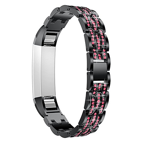 for Fitbit Alta/Alta HR Rhinestone Band Metal Replacement Stainless Steel Watch Strap with Rhinestone Bracelet Jewelry Strap for Fitbit Alta/Alta HR (Black & Red Rhinestone)