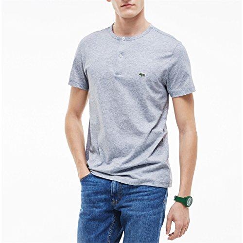 Lacoste Men's Short Sleeve Henley Jersey Pima Regular Fit T-Shirt, Silver/Grey Chine, (Lacoste Cotton Henley)