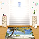 tinkerbell tree house - HAIXIA rugs Scenery Decor Tropical Sandy Beach with Palm Trees Maldives Coastline Peaceful Theme Coconut and Blue