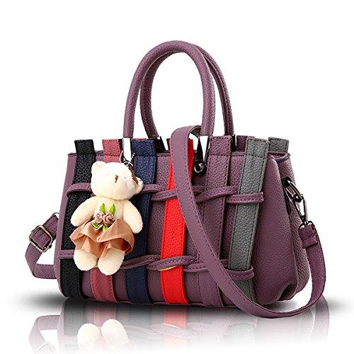 Tisdaini Fashion Handbag hit Color Woven Shoulder Messenger Bag Purse with Bear Bag Deep Purple