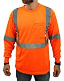 High Visibility Long Sleeve Safety Shirt Reflective NEW D01F09 ORANGE Large