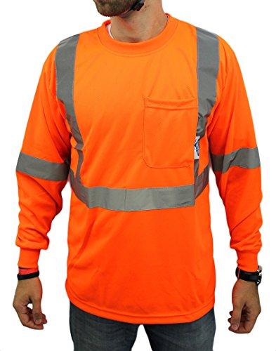 High Visibility Long Sleeve Safety Shirt Reflective NEW D01F09 ORANGE Medium