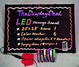 TheDisplayDeal Flashing Illuminated LED Message Writing Board Menu Sign (7 Colors of RGB 48 Flashing-Mode Remote Control + 6 color Markers+ Metal Chain + Washable Eraser Cloth) (Medium 20''x28'')