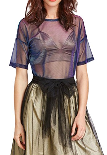 Moon Market Women Sheer Shimmer Shiny Metalic See Through Summer Festival Mesh Tee Short Sleeve Tops Tunic (L, - Top Bandeau Metallic