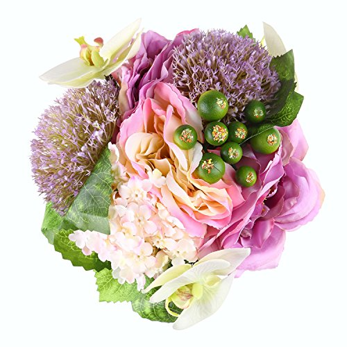 Purple Orchid Bouquet (ADolinGo Artificial Flowers Phalaenopsis Orchid Hydrangea Roses 10 Heads Bouquet Wedding Decor (Purple))