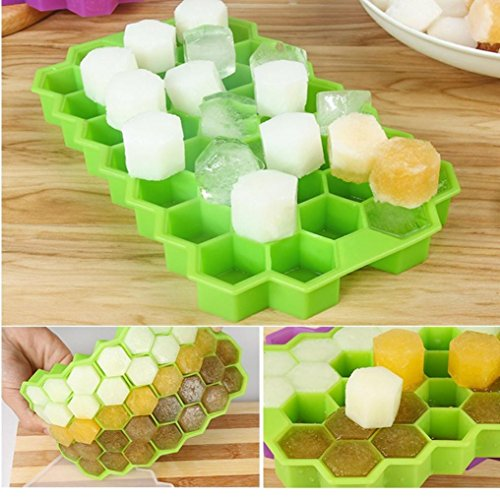 LtrottedJ Honeycomb Shape Ice Cube 37 Cubes Ice Tray Ice Cube Mold Storage Containers (Green) -