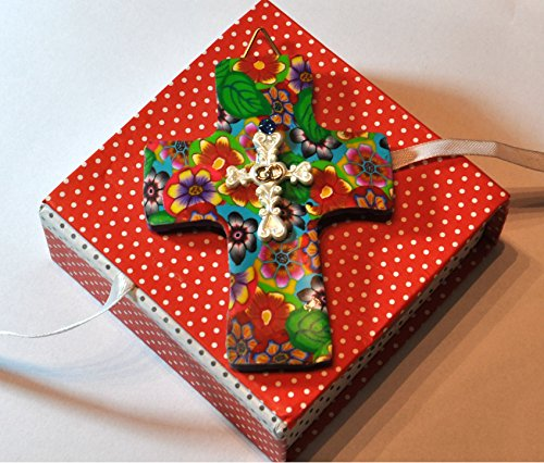 NEW colorful polymer clay Religious Christian Cross Hanging wall decor by orly kliger