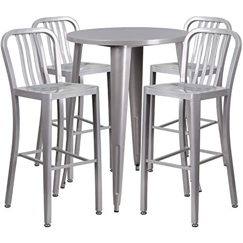 My Friendly Office MFO 30'' Round Silver Metal Indoor-Outdoor Bar Table Set with 4 Vertical Slat Back Stools