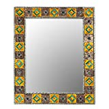 NOVICA Hollywood Glam Wood Wall Mounted Mirror, Earthtone, 'Autumn Warmth'