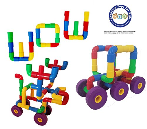 CTK Building Tube Set Building Blocks   Fun Toys for 3, 4, 5, 6, 7, 8 Year Old Boys & Girls   64 Piece,   Best Birthday Gift