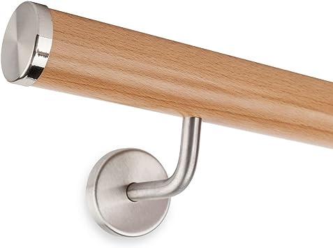 Pasamanos madera de haya, 45 mm, redondo, 160 cm de longitud, con 2 soportes de acero
