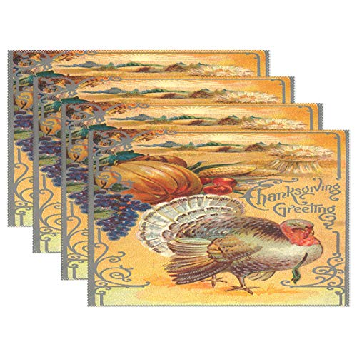 Wamika Autumn Fall Placemats Set of 6, Thanksgiving Greeting Heat Insulation Stain Resistant Non-Slip Table Mats Turkey Pumpkin Grape Corn Place Mats 12x18 inch for Dining Table Kitchen Dinner Banquet