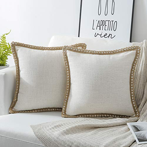 Phantoscope Pack of 2 Farmhouse Burlap Linen Trimmed Tailored Edges Throw Pillow Case Cushion Covers Off-White 18 x 18 inches 45 x 45 cm