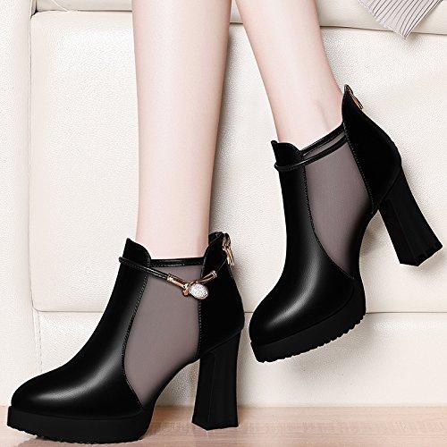 Jqdyl High Heels 2018 New Spring Spring Schuhe Wild Wild High Heel Rough mit einzelnen Schuhe Sandalen Frauen Schuhe  36|black