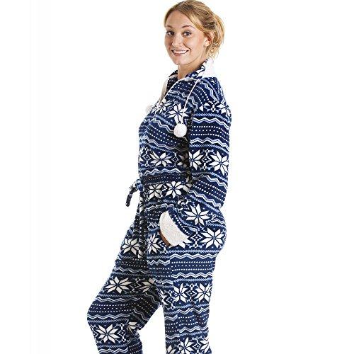 Camille - Pijama de una pieza suave para mujer - Estampado nórdico - Azul y blanco: Amazon.es: Ropa y accesorios