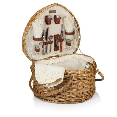 Picnic Time Willow Heart Picnic Basket with Deluxe Service for Two by Picnic Time