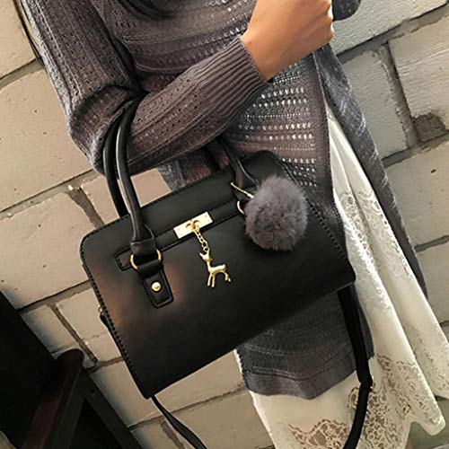 Deerlet Crossbody Bag Bafaretk BLACK Bag Ball Messenger Womens Zipper Shoulder Hair Fashion ERqp1qS