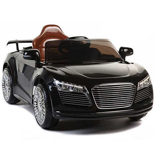 Kids Ride On Car 12V Audi R8 Style Remote Control RC Bright Lights - Black