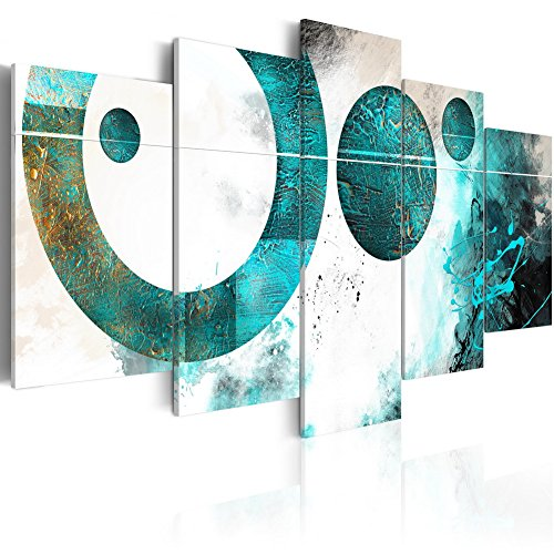Konda Art - Large Size Modern Canvas Art Blue Abstract Artwork for Walls Contemporary Giclee Canvas Print Art 5 pcs Framed Decor Painting for Office Stretched and Ready to hang (W80''x H40'') by Konda Art
