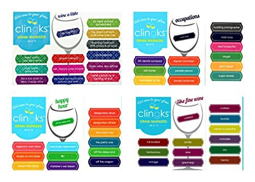 Clingks 48 Drink Markers - Sassy and Edgy Sayings - Fun Alternative to Wine Charms