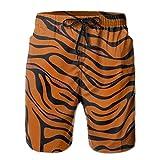 Tiger Stripe Animal Stretch Mens Boardshorts Swim Trunks Men Tropical Gym Swim Board Shorts Solid Swim Trunks