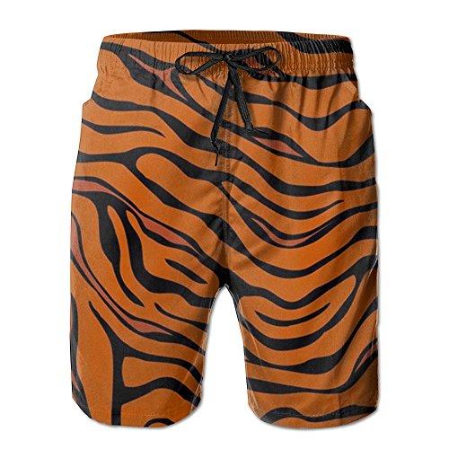 Tiger Stripe Animal Elastic Mens Boardshorts Swim Trunks Men Tropical Gym Swim Board Shorts Swimming Trunks White