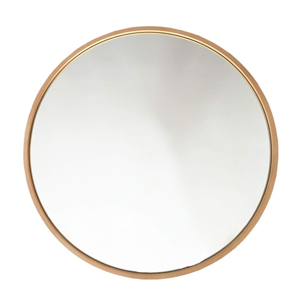46cm Circular Wall Mirror with Wood Frame,Bathroom Makeup Decorative Shaving Mirrors Large Dressing, Washrooms, Living Rooms and More, gold Finish