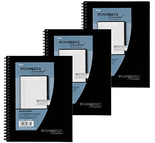 3 Pack of Mead Cambridge Wirebound Business Notebook, Legal Rule, 6 5/8 (Wirebound Rule)