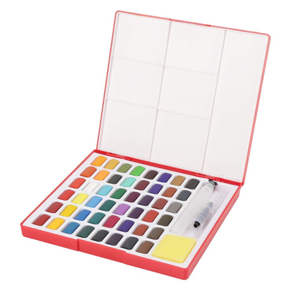 48 Farben Feste Aquarellpigmente mit Pinsel tragbarer Farbstoffsatz f/ür K/ünstler-Studenten Kunst zeichnen Malzubeh/ör Feste Aquarellfarbe Stift und Schwamm