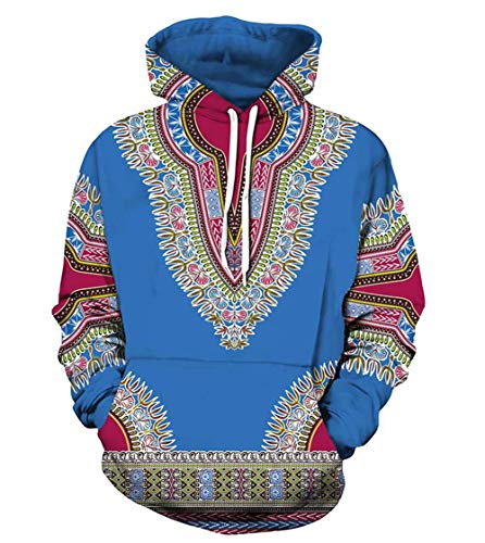 Skyyeox Unisex Long Sleeve Fashion African Dashiki Printing Men Hoodies with Pocket Sweatshirts 14/16 Blue
