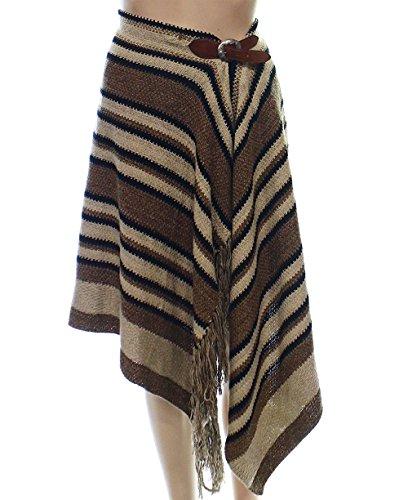 Polo Ralph Lauren Women's Fringe-Trimmed Knit Wrap Skirt (Large, Brown/Black) by Polo Ralph Lauren