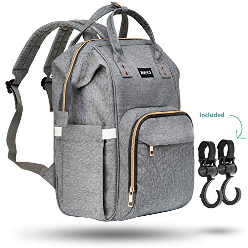 Zuzuro Diaper Bag - Baby Bag - Waterproof Backpack w/Large Capacity & Multiple Pockets for Organization. Ideal for Travel Nappy...
