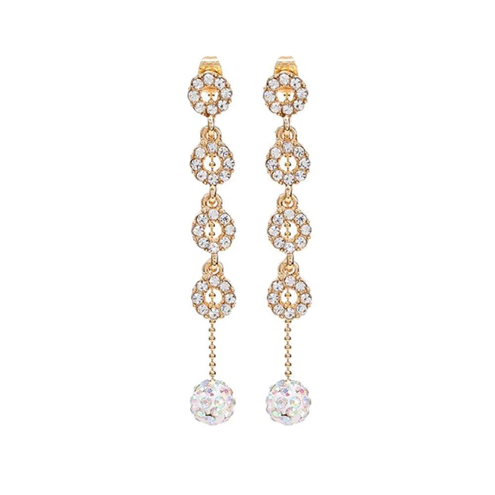 Wintefei Fashion Rhinestone Ball Tassel Ear Stud Long Drop Earrings Women Jewelry Gift - Golden