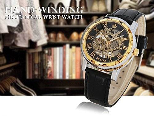 GuTe Classic Skeleton Unisex Mechanical Hand-wind Wrist Watch Steampunk Style