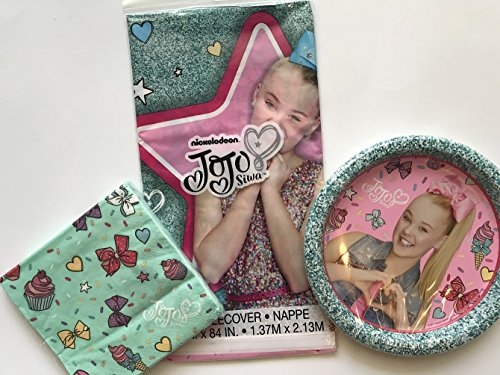 Buy Discount JOJO SIWA Party Pack Plates, Napkins and Tablecloth Serves 8 NICKELODEON