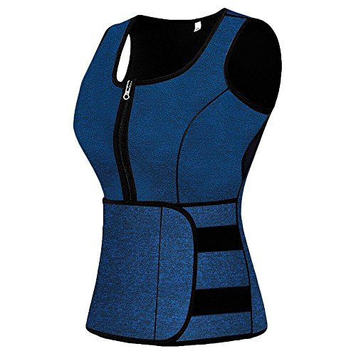 Female Body - Mpeter Sweat Vest for Women, Slimming Body Shaper, Weight Loss, Blue Black, XX-Large
