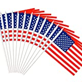 Anley USA Stick Flag, American US 5x8 inch Handheld Mini Flag with 12' White Solid Pole - Vivid Color and Fade Resistant - United States 5 x 8 inch Hand Held Stick Flags with Spear Top (1 Dozen)