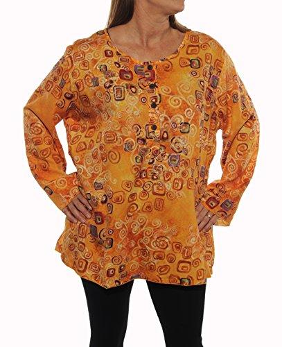 We-Be-Bop-Plus-Size-METRO-Black-Orange-Indian-Tunic-Kurta-Shirt-Top