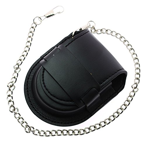 ZIJAE Black Leather Chain Pocket Watch Holder Storage Case Box Coin Purse Pouch Bag (Watch Holder Leather Pocket)