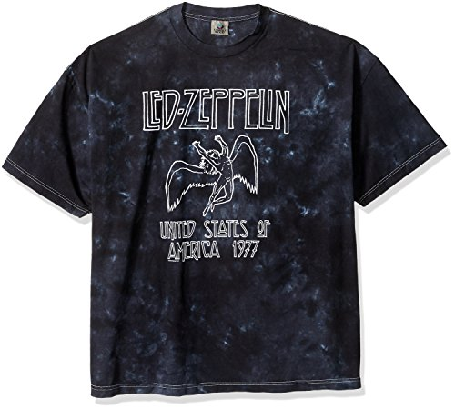 Liquid Blue Men's Led Zeppelin USA Tour 77 Tie Dye Short Sleeve T-Shirt, Multi, 3XL