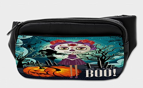 Lunarable Halloween Bumbag, Girl Sugar Skull Makeup, Fanny Pack Hip Waist Bag]()