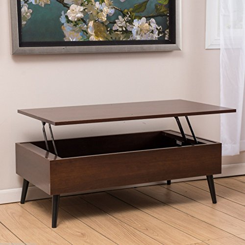 NEW Living Room Mid-Century Design Mahogany Wood Lift Top Storage Coffee (Mission Trestle Dining Table)