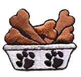 [Single Count] Custom and Unique (1-1/2' x 1-1/4' Inch) Cute Small Adorable Dog Puppy Food Dish Bowl w/ Bones & Paw Prints Iron On Embroidered Applique Patch {Black, Brown & White Colored
