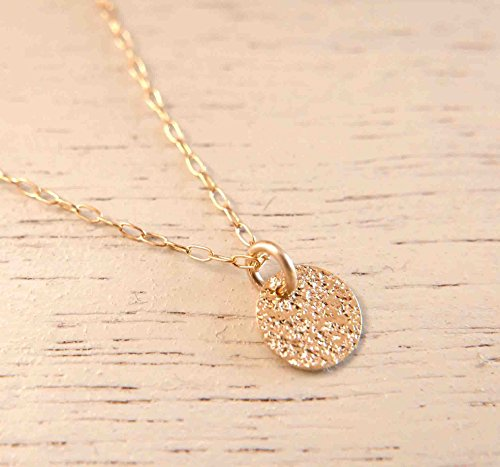 Gold Filled Disc (Handmade Minimalist and Dainty Gold Filled Disc Pendant Necklace For Women By Galis Jewelry)