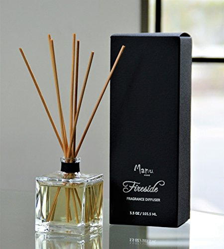Manu Home Fireside 3.5oz reed diffuser Set ~ A refreshing blend of Cedarwood, Amber, Vanilla Bean and Suede ~Great for relaxation~ Made in USA!