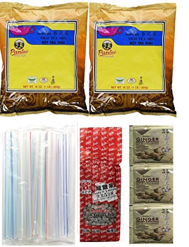 Goodboy Shops Collection of BOBA Tapioca Pearls for Bubble Tea, Pantai Thai Tea Powder and Boba Jumbo Straws Bubble Gift Set Plus a Free Gift Instant Ginger Honey Crystals by Goodboy