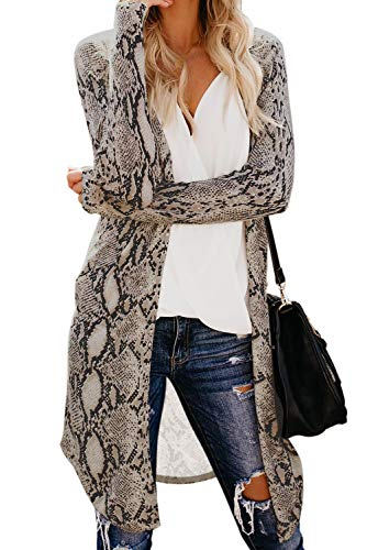 Cardigan Sweaters for Women Full Sleeve Casual Loose Lightweight Maxi Outwear Snake M