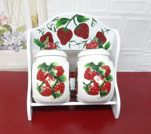 (Tuscany 3-D Strawberry, Set of 2 Candy Jars with Wooden Rack, 83585 By ACK)