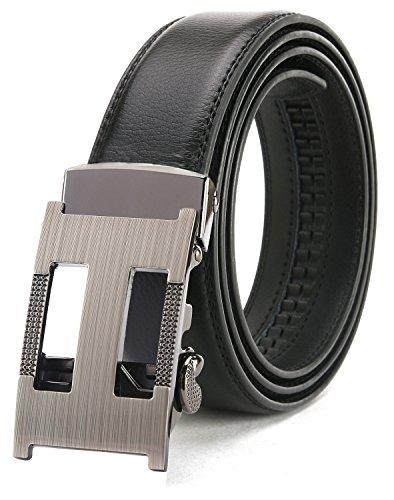 Ratchet Belts For Men, ITIEZY Leather Designer Belt Automatic Sliding Buckle Black (Mens Designer Fashion)